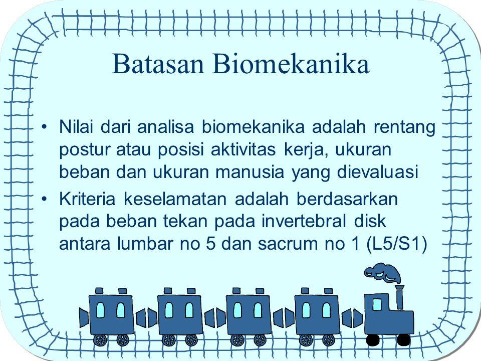 Batasan Biomekanika Nilai dari analisa biomekanika adalah rentang postur atau posisi aktivitas kerja, ukuran beban dan ukuran manusia yang dievaluasi
