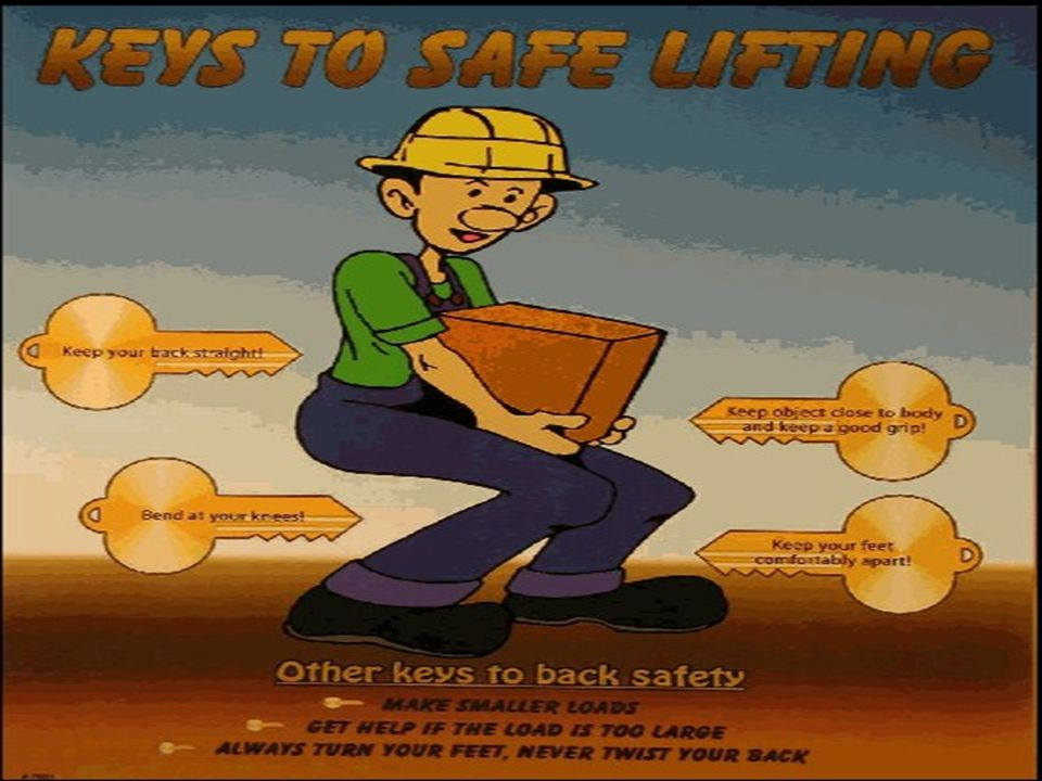 Safe Lifting Keep your back straight Bend at your knees Keep object close to body and keep a good grip Keep your feet comfortably apart Make smaller loads Get help if you need it Always turn your feet; never turn your back
