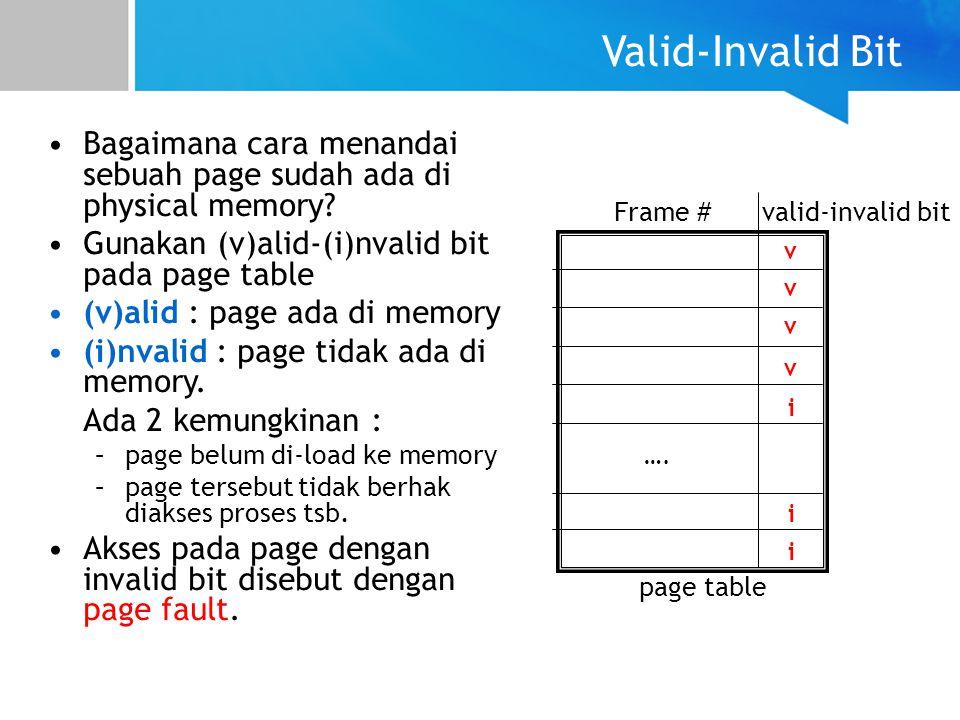 Valid-Invalid Bit Bagaimana cara menandai sebuah page sudah ada di physical memory? Gunakan (v)alid-(i)nvalid bit pada page table (v)alid : page ada d