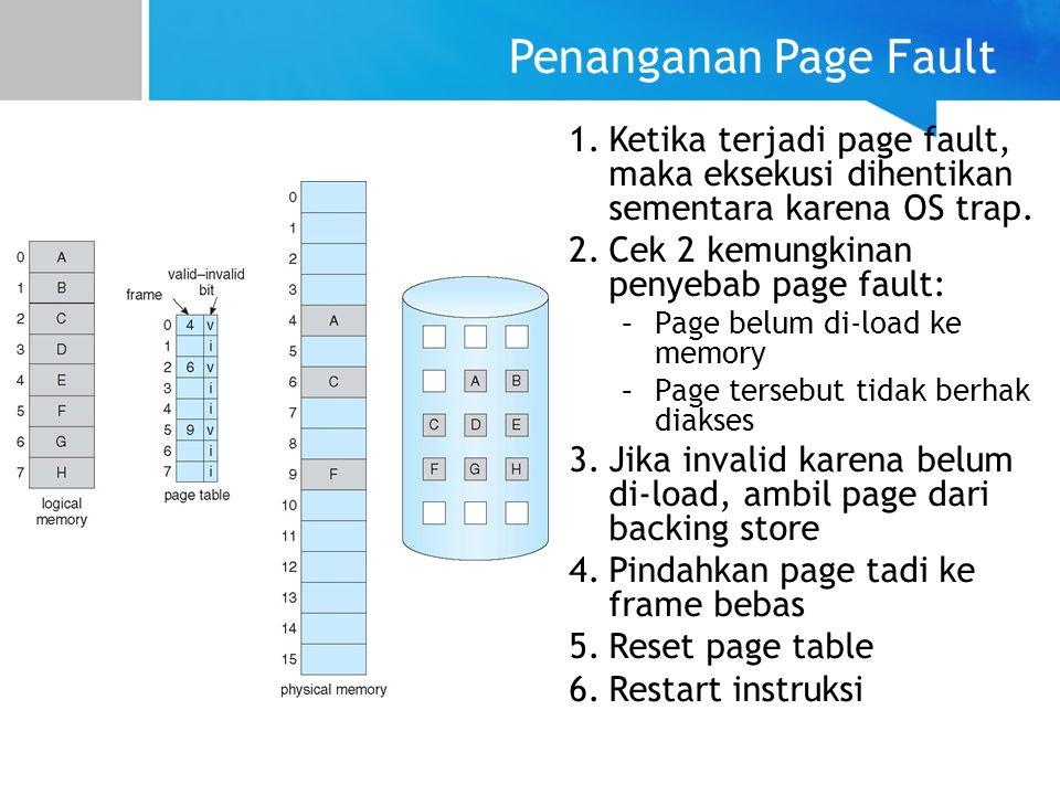 Penanganan Page Fault 1.Ketika terjadi page fault, maka eksekusi dihentikan sementara karena OS trap. 2.Cek 2 kemungkinan penyebab page fault: –Page b