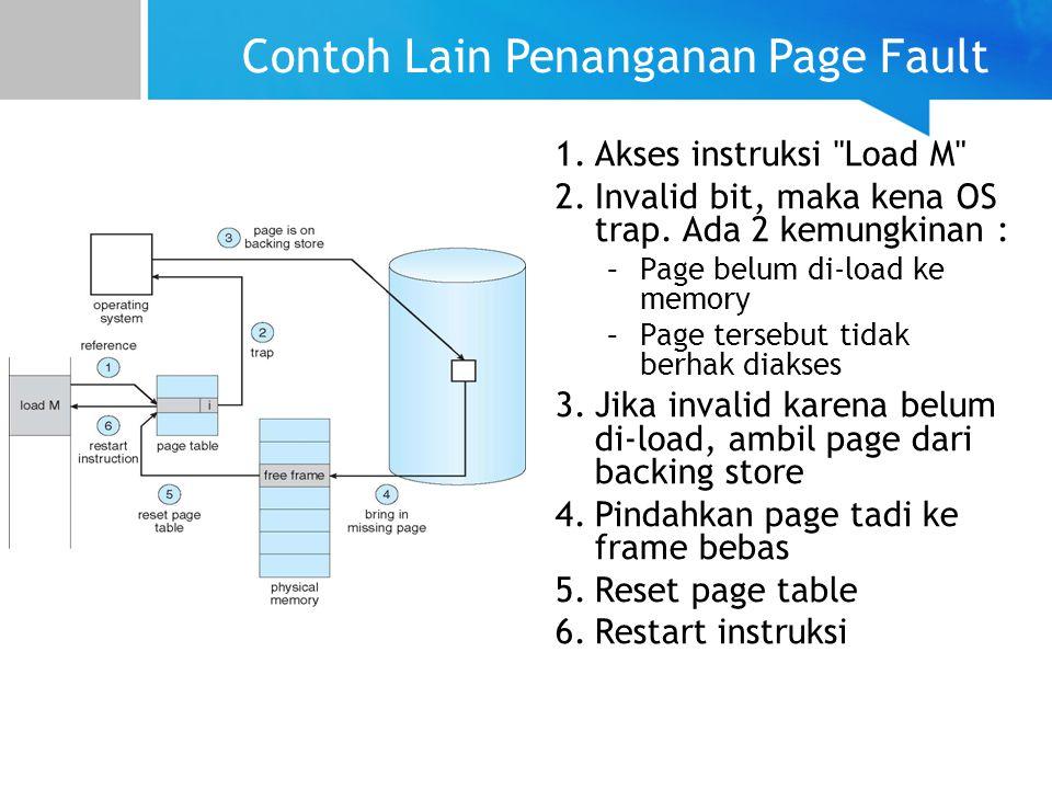 Contoh Lain Penanganan Page Fault 1.Akses instruksi