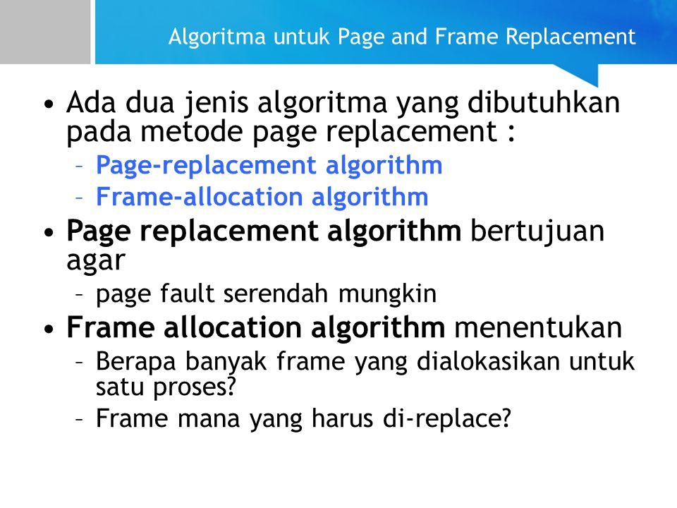 Algoritma untuk Page and Frame Replacement Ada dua jenis algoritma yang dibutuhkan pada metode page replacement : –Page-replacement algorithm –Frame-a