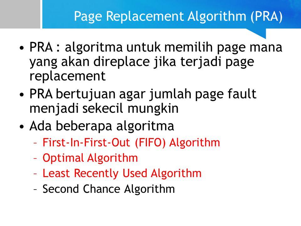 Page Replacement Algorithm (PRA) PRA : algoritma untuk memilih page mana yang akan direplace jika terjadi page replacement PRA bertujuan agar jumlah p