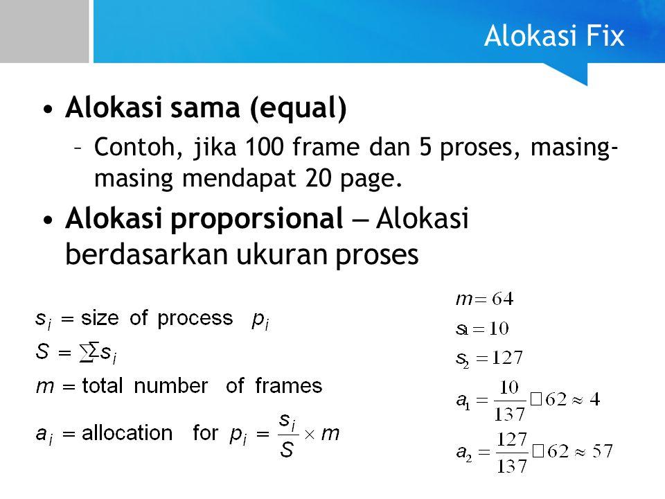 Alokasi Fix Alokasi sama (equal) –Contoh, jika 100 frame dan 5 proses, masing- masing mendapat 20 page. Alokasi proporsional – Alokasi berdasarkan uku