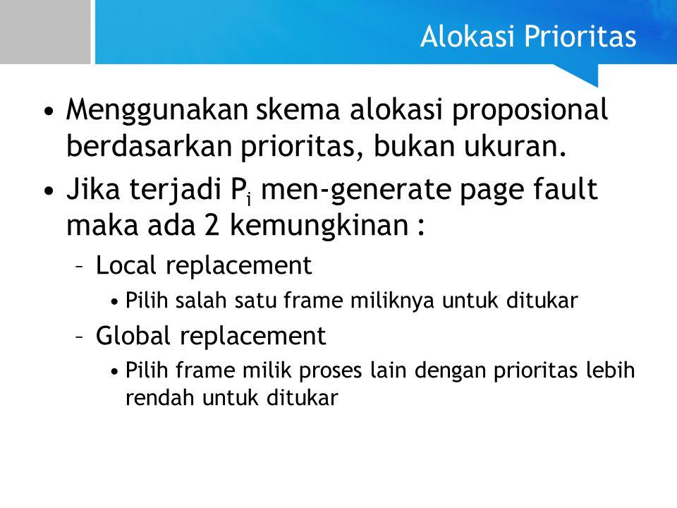 Alokasi Prioritas Menggunakan skema alokasi proposional berdasarkan prioritas, bukan ukuran. Jika terjadi P i men-generate page fault maka ada 2 kemun