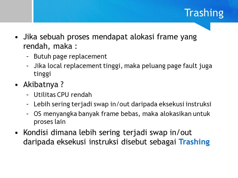 Jika sebuah proses mendapat alokasi frame yang rendah, maka : –Butuh page replacement –Jika local replacement tinggi, maka peluang page fault juga tin