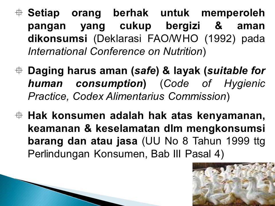  Setiap orang berhak untuk memperoleh pangan yang cukup bergizi & aman dikonsumsi (Deklarasi FAO/WHO (1992) pada International Conference on Nutrition)  Daging harus aman (safe) & layak (suitable for human consumption) (Code of Hygienic Practice, Codex Alimentarius Commission)  Hak konsumen adalah hak atas kenyamanan, keamanan & keselamatan dlm mengkonsumsi barang dan atau jasa (UU No 8 Tahun 1999 ttg Perlindungan Konsumen, Bab III Pasal 4)