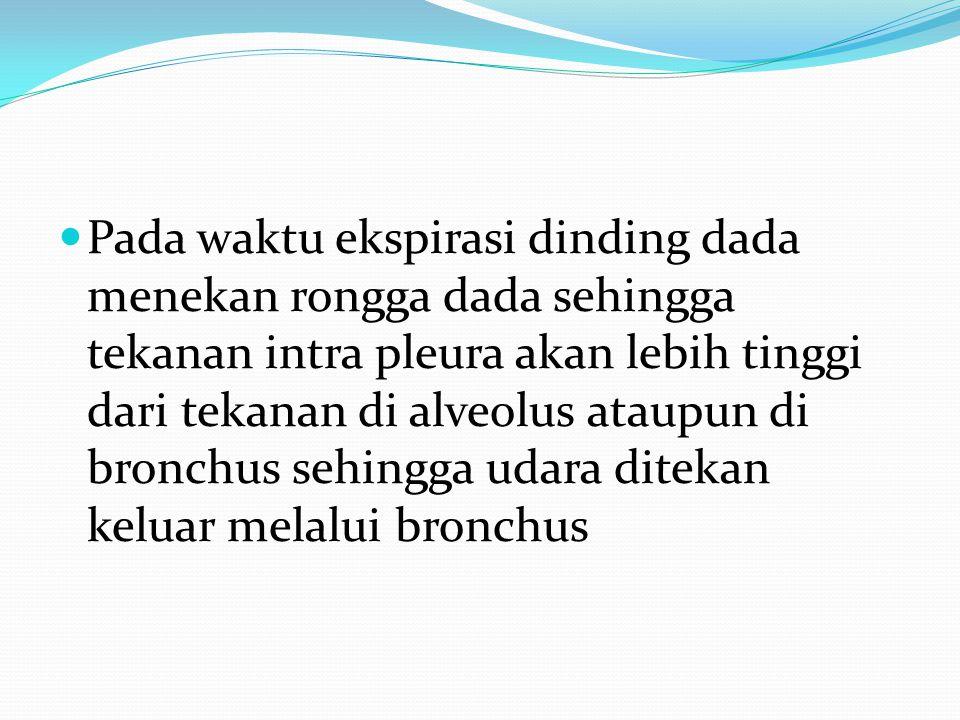 Pada waktu ekspirasi dinding dada menekan rongga dada sehingga tekanan intra pleura akan lebih tinggi dari tekanan di alveolus ataupun di bronchus seh