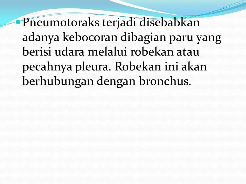 Pneumotoraks terjadi disebabkan adanya kebocoran dibagian paru yang berisi udara melalui robekan atau pecahnya pleura. Robekan ini akan berhubungan de