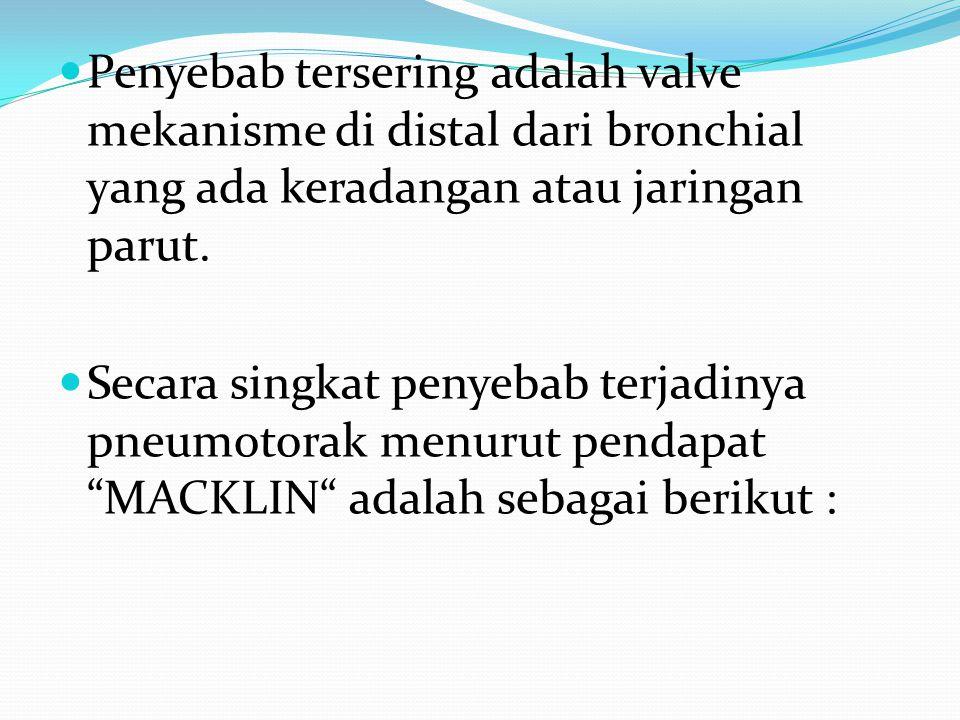 Penyebab tersering adalah valve mekanisme di distal dari bronchial yang ada keradangan atau jaringan parut. Secara singkat penyebab terjadinya pneumot