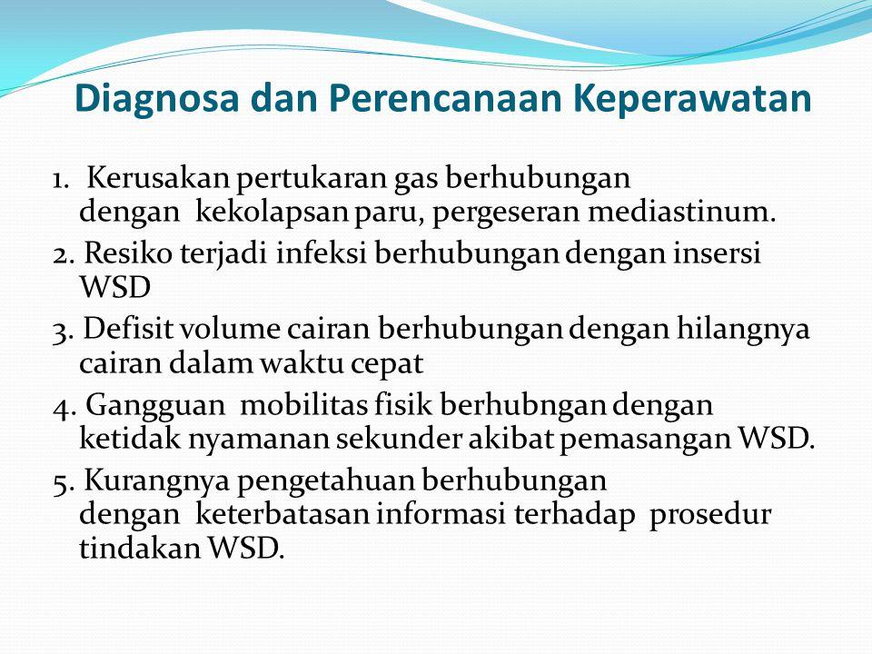 Diagnosa dan Perencanaan Keperawatan 1. Kerusakan pertukaran gas berhubungan dengan kekolapsan paru, pergeseran mediastinum. 2. Resiko terjadi infeksi