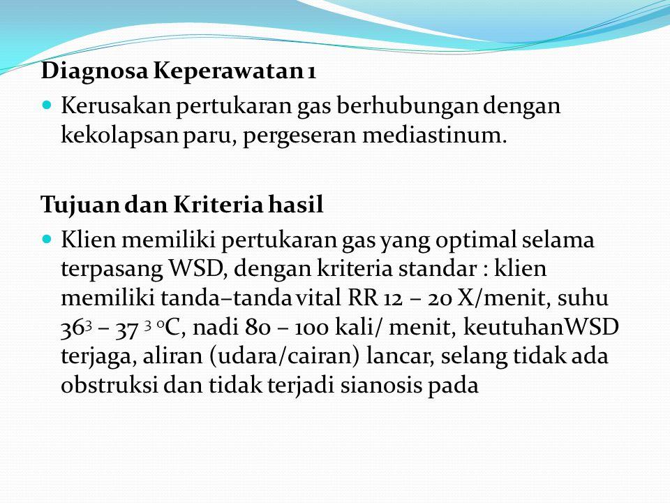 Diagnosa Keperawatan 1 Kerusakan pertukaran gas berhubungan dengan kekolapsan paru, pergeseran mediastinum. Tujuan dan Kriteria hasil Klien memiliki p