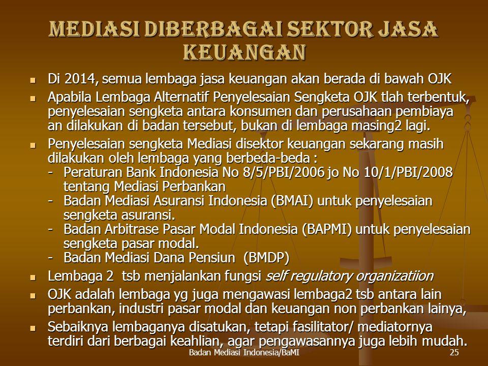 MEDIASI OLEH OTORITAS JASA KEUANGAN (OJK) Yang dimaksud penyelesaian diluar pengadilan adalah melalui Lembaga Alternatif Penyelesaian Sengketa yang dikoordinasikan oleh asosiasi masing2 sektor jasa keuangan.