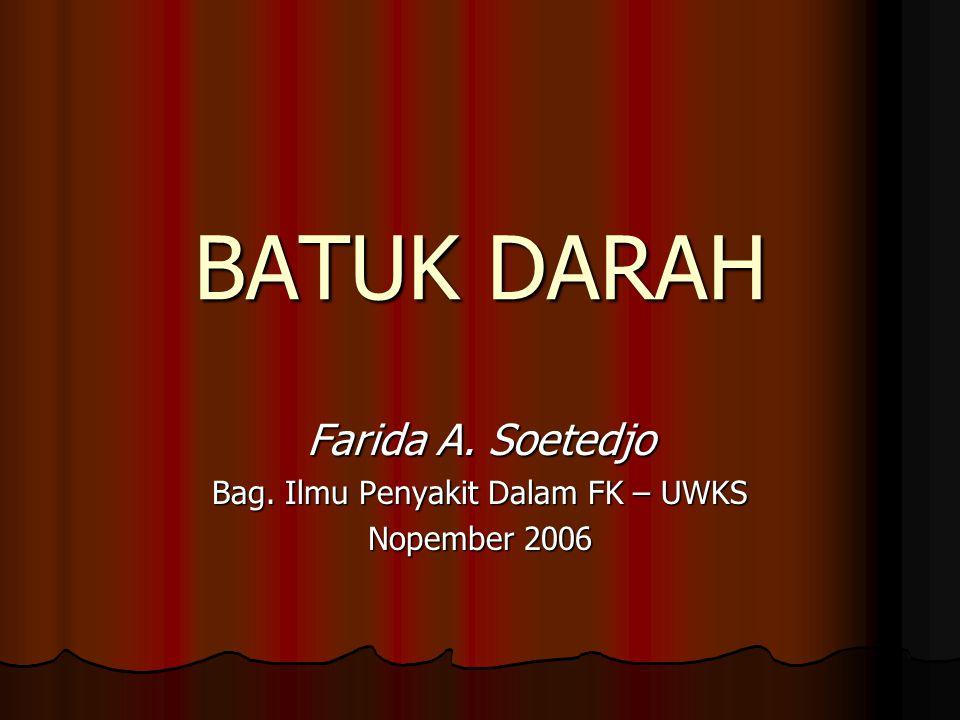 BATUK DARAH Farida A. Soetedjo Bag. Ilmu Penyakit Dalam FK – UWKS Nopember 2006