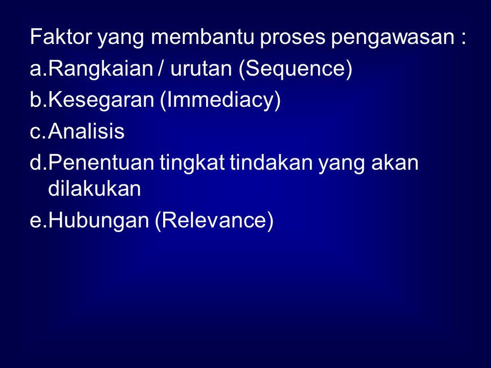 Faktor yang membantu proses pengawasan : a.Rangkaian / urutan (Sequence) b.Kesegaran (Immediacy) c.Analisis d.Penentuan tingkat tindakan yang akan dil