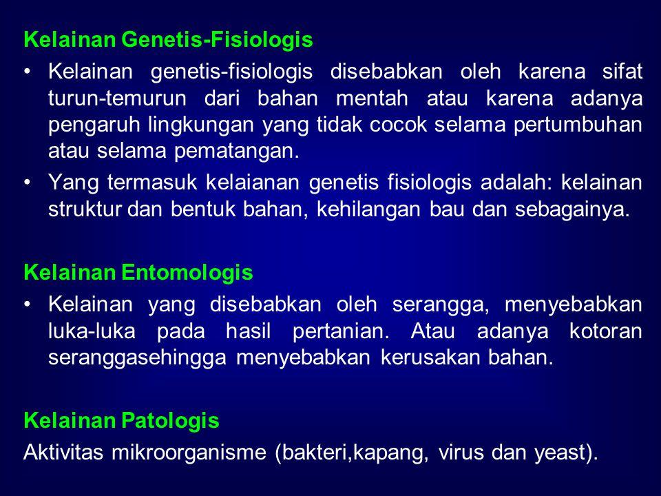 Kelainan Genetis-Fisiologis Kelainan genetis-fisiologis disebabkan oleh karena sifat turun-temurun dari bahan mentah atau karena adanya pengaruh lingk
