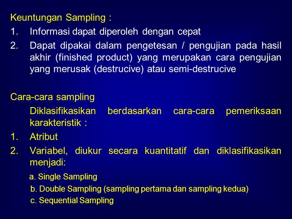 Keuntungan Sampling : 1.Informasi dapat diperoleh dengan cepat 2.Dapat dipakai dalam pengetesan / pengujian pada hasil akhir (finished product) yang m