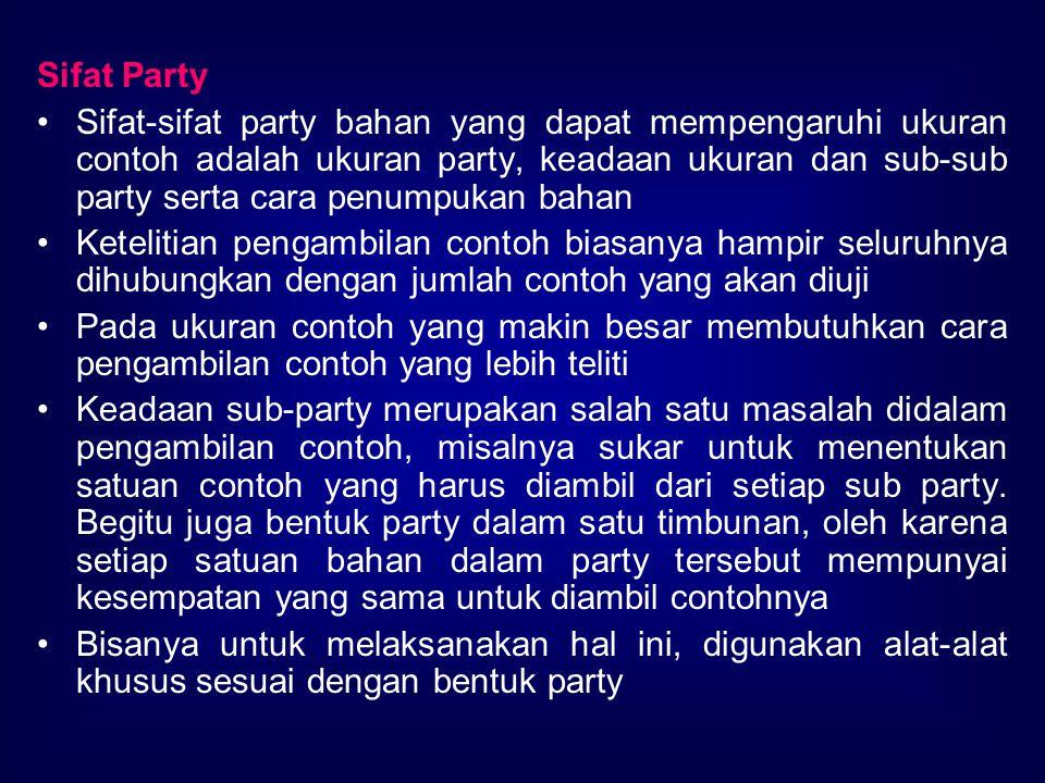 Sifat Party Sifat-sifat party bahan yang dapat mempengaruhi ukuran contoh adalah ukuran party, keadaan ukuran dan sub-sub party serta cara penumpukan