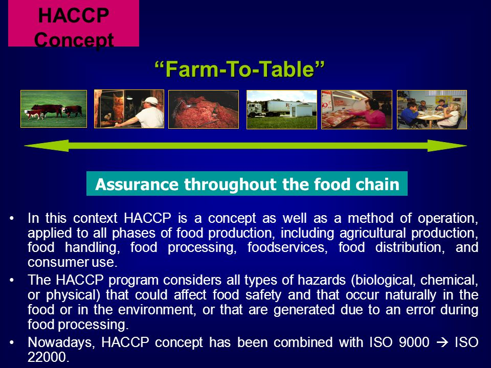 In this context HACCP is a concept as well as a method of operation, applied to all phases of food production, including agricultural production, food handling, food processing, foodservices, food distribution, and consumer use.