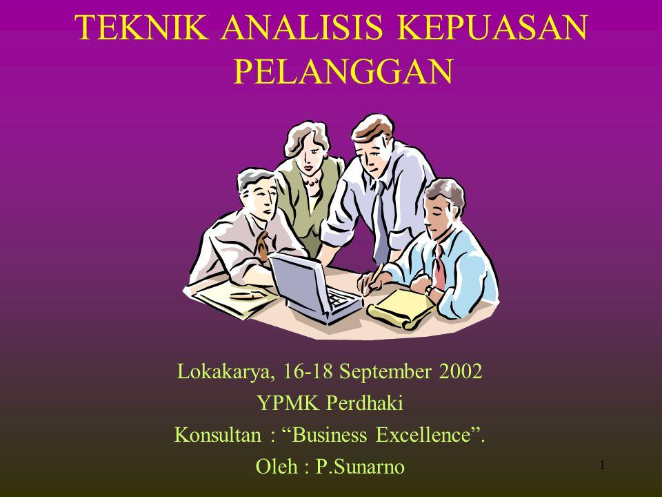 1 TEKNIK ANALISIS KEPUASAN PELANGGAN Lokakarya, 16-18 September 2002 YPMK Perdhaki Konsultan : Business Excellence .