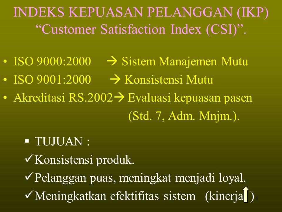 4 INDEKS KEPUASAN PELANGGAN (IKP) Customer Satisfaction Index (CSI) .