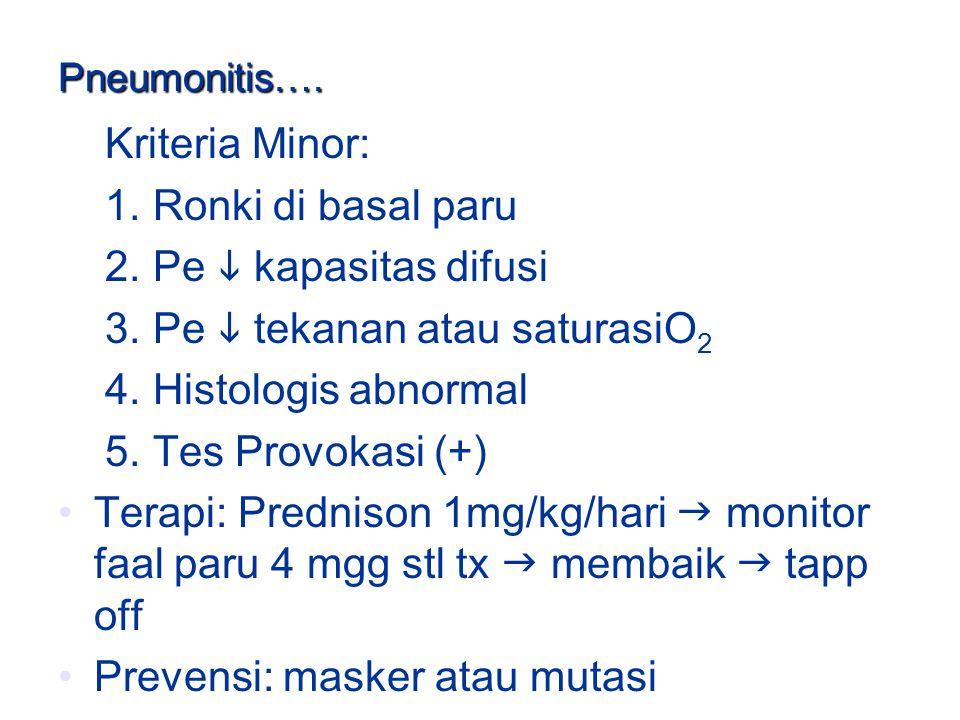 Pneumonitis…. Kriteria Minor: 1. Ronki di basal paru 2. Pe  kapasitas difusi 3. Pe  tekanan atau saturasiO 2 4. Histologis abnormal 5. Tes Provokasi