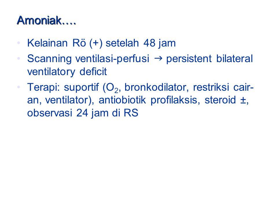 Amoniak…. Kelainan Rö (+) setelah 48 jam Scanning ventilasi-perfusi  persistent bilateral ventilatory deficit Terapi: suportif (O 2, bronkodilator, r