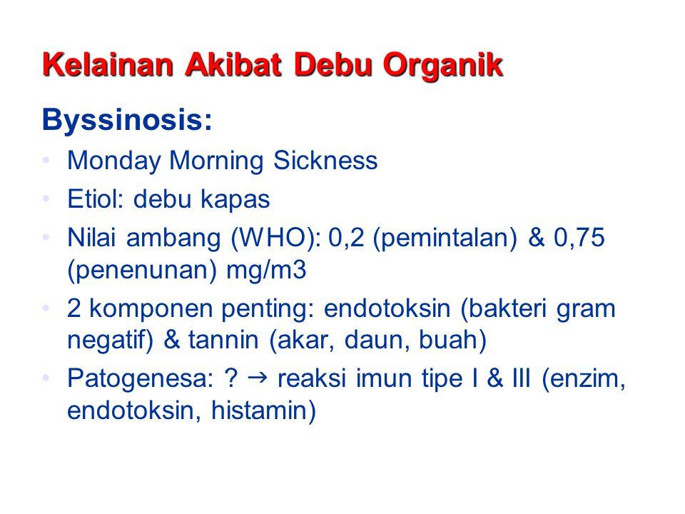 Kelainan Akibat Debu Organik Byssinosis: Monday Morning Sickness Etiol: debu kapas Nilai ambang (WHO): 0,2 (pemintalan) & 0,75 (penenunan) mg/m3 2 kom