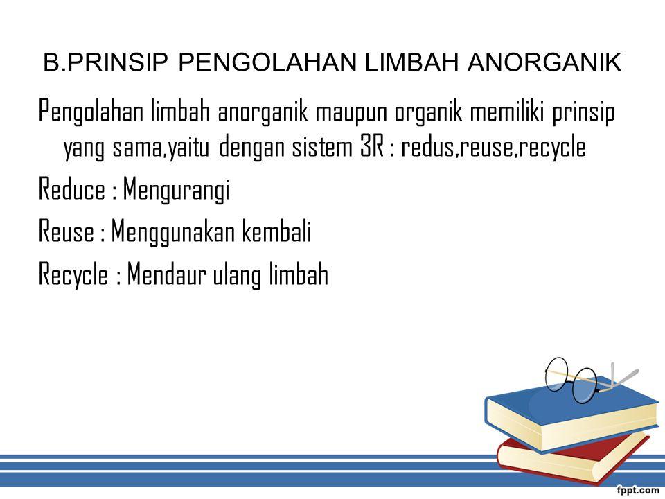 B.PRINSIP PENGOLAHAN LIMBAH ANORGANIK Pengolahan limbah anorganik maupun organik memiliki prinsip yang sama,yaitu dengan sistem 3R : redus,reuse,recyc