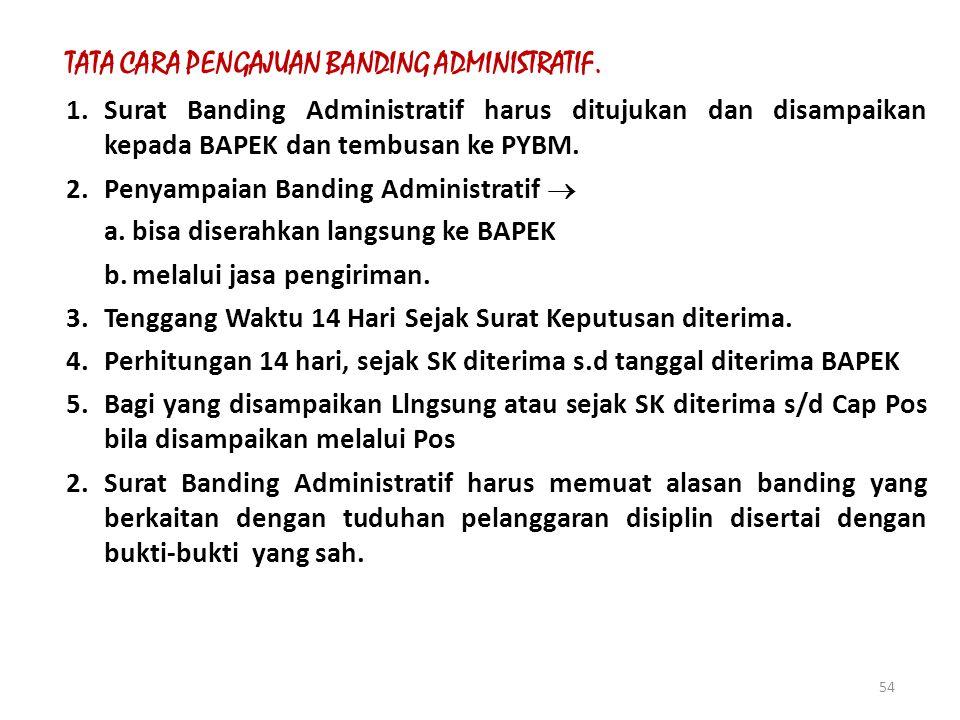 53 II.BANDING ADMINISTRATIF BAPEK PNS yang dijatuhkan hukuman disiplin oleh Menteri, berupa (Pemberhentian DHTAPS sbg PNS dan Pemberhentian TDH sbg PN