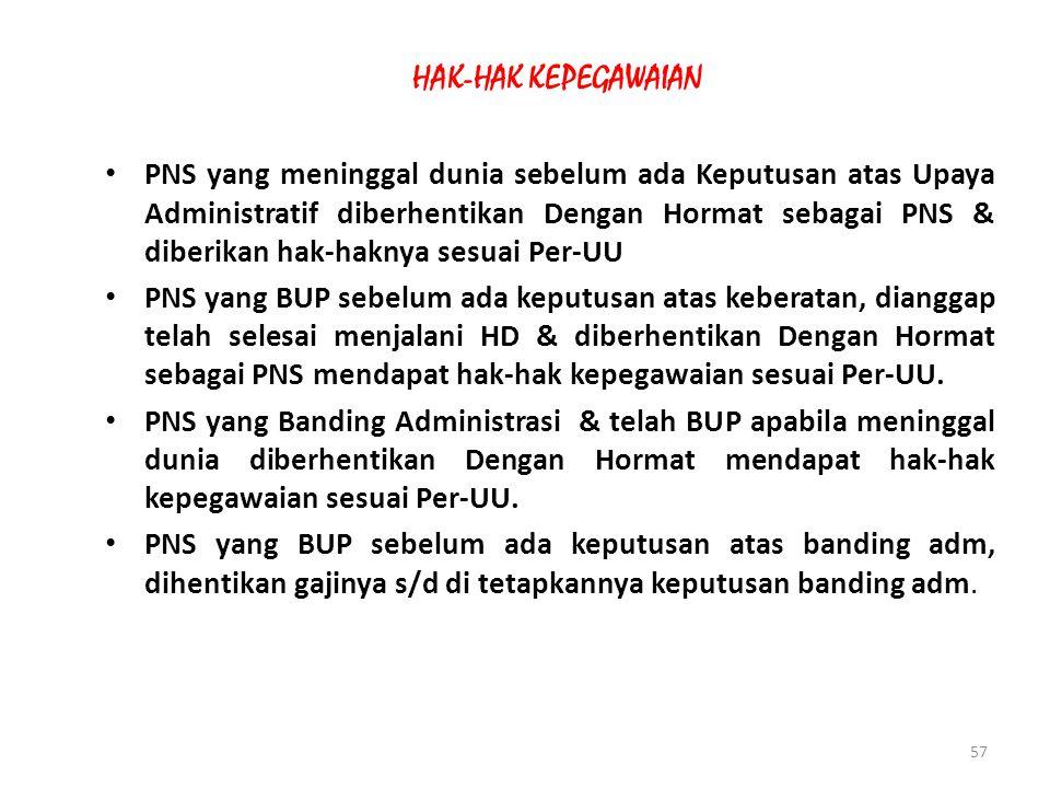 56 11.PNS yang mencapai BUP pada saat:  Mengajukkan keberatan, dianggap telah selesai hukumannya  Sudah mengajukan banding administratif, maka harus