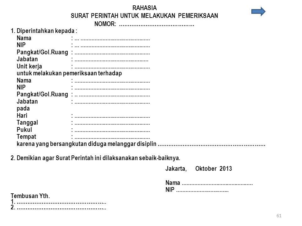 Contoh Laporan kewenangan penjatuhan hukuman disiplin Jakarta, …………………………… Kepada Yth. ………………………………. di ……………………. RAHASIA Dengan ini dilaporkan dengan