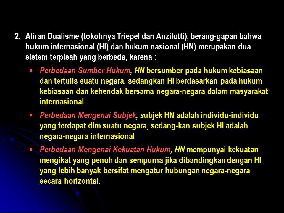 2.Aliran Dualisme (tokohnya Triepel dan Anzilotti), berang-gapan bahwa hukum internasional (HI) dan hukum nasional (HN) merupakan dua sistem terpisah