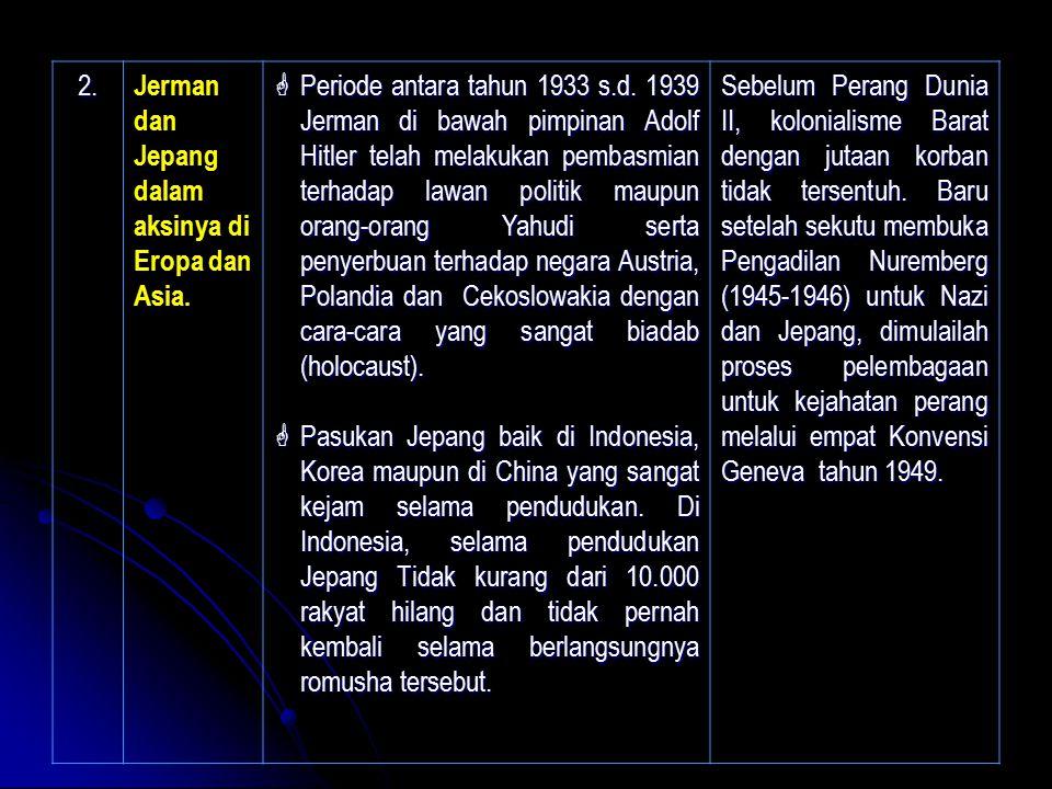 2. Jerman dan Jepang dalam aksinya di Eropa dan Asia.  Periode antara tahun 1933 s.d. 1939 Jerman di bawah pimpinan Adolf Hitler telah melakukan pemb