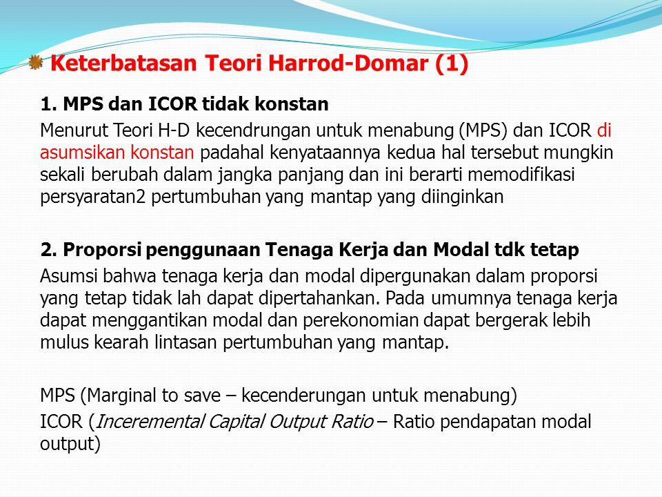 Keterbatasan Teori Harrod-Domar (1) 1. MPS dan ICOR tidak konstan Menurut Teori H-D kecendrungan untuk menabung (MPS) dan ICOR di asumsikan konstan pa
