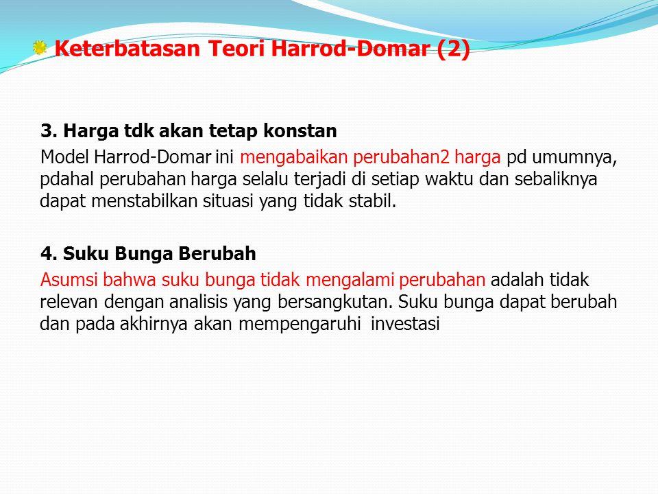 Keterbatasan Teori Harrod-Domar (2) 3. Harga tdk akan tetap konstan Model Harrod-Domar ini mengabaikan perubahan2 harga pd umumnya, pdahal perubahan h