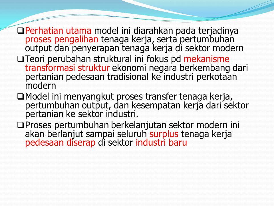  Perhatian utama model ini diarahkan pada terjadinya proses pengalihan tenaga kerja, serta pertumbuhan output dan penyerapan tenaga kerja di sektor m