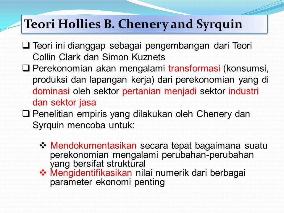 Teori Hollies B. Chenery and Syrquin  Teori ini dianggap sebagai pengembangan dari Teori Collin Clark dan Simon Kuznets  Perekonomian akan mengalami