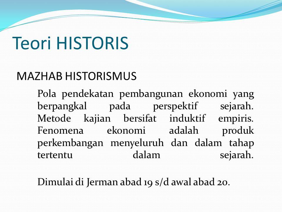 Teori HISTORIS MAZHAB HISTORISMUS Pola pendekatan pembangunan ekonomi yang berpangkal pada perspektif sejarah. Metode kajian bersifat induktif empiris