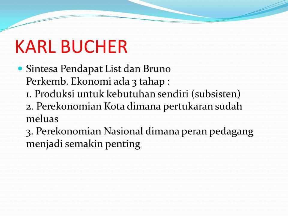 KARL BUCHER Sintesa Pendapat List dan Bruno Perkemb. Ekonomi ada 3 tahap : 1. Produksi untuk kebutuhan sendiri (subsisten) 2. Perekonomian Kota dimana
