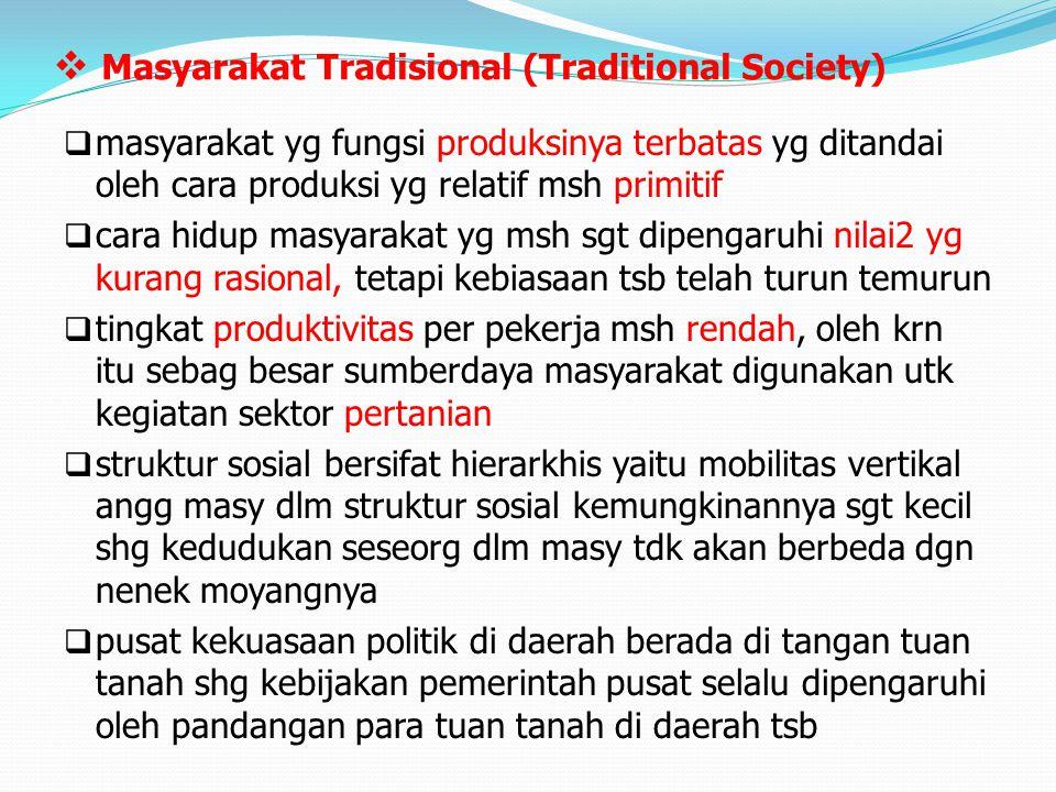  Masyarakat Tradisional (Traditional Society)  masyarakat yg fungsi produksinya terbatas yg ditandai oleh cara produksi yg relatif msh primitif  ca
