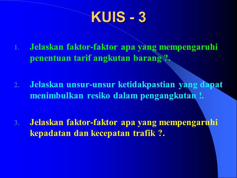 KUIS - 3 1. Jelaskan faktor-faktor apa yang mempengaruhi penentuan tarif angkutan barang ?. 2. Jelaskan unsur-unsur ketidakpastian yang dapat menimbul