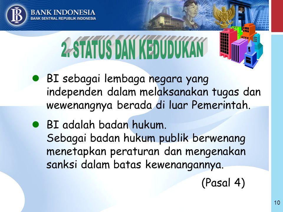 10 BI sebagai lembaga negara yang independen dalam melaksanakan tugas dan wewenangnya berada di luar Pemerintah.