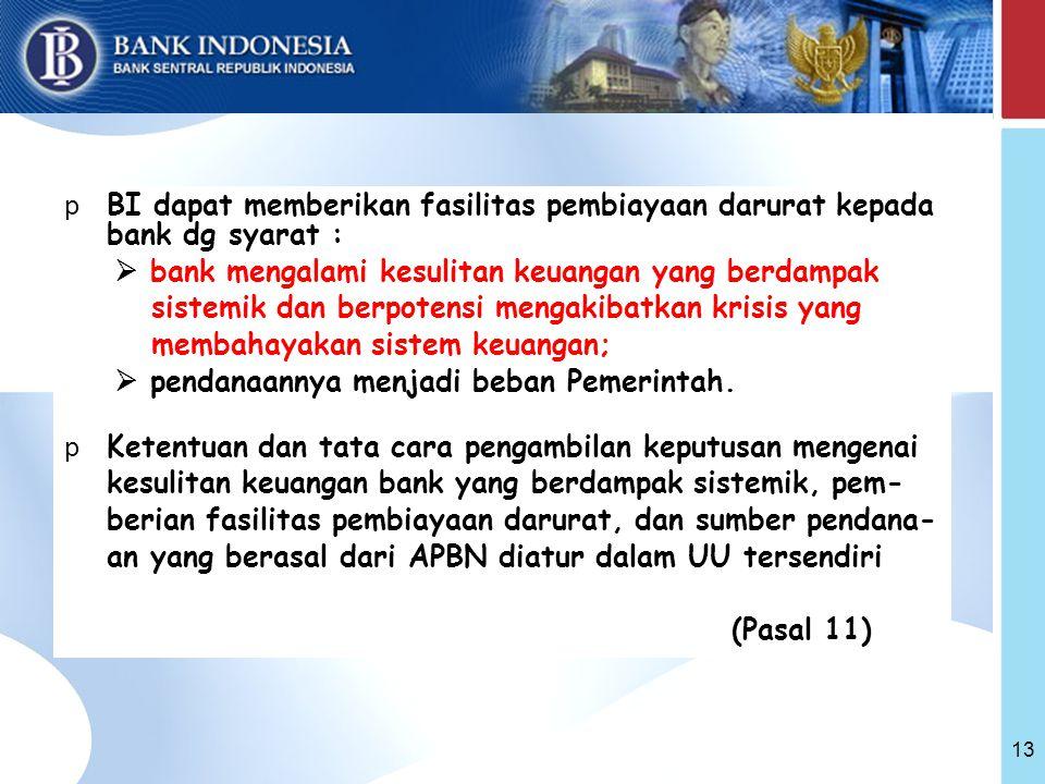 13 p BI dapat memberikan fasilitas pembiayaan darurat kepada bank dg syarat :  bank mengalami kesulitan keuangan yang berdampak sistemik dan berpotensi mengakibatkan krisis yang membahayakan sistem keuangan;  pendanaannya menjadi beban Pemerintah.