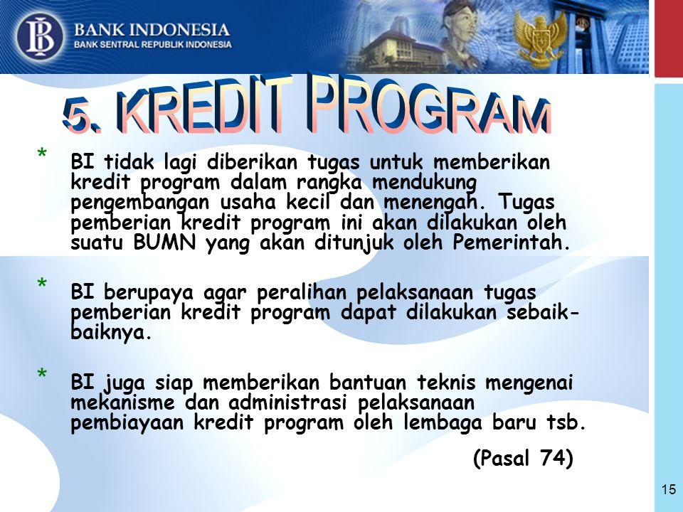 15 * BI tidak lagi diberikan tugas untuk memberikan kredit program dalam rangka mendukung pengembangan usaha kecil dan menengah.