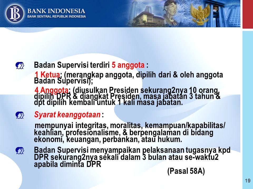 19  Badan Supervisi terdiri 5 anggota : 1 Ketua; (merangkap anggota, dipilih dari & oleh anggota Badan Supervisi); 4 Anggota; (diusulkan Presiden sekurang2nya 10 orang, dipilih DPR & diangkat Presiden, masa jabatan 3 tahun & dpt dipilih kembali untuk 1 kali masa jabatan.