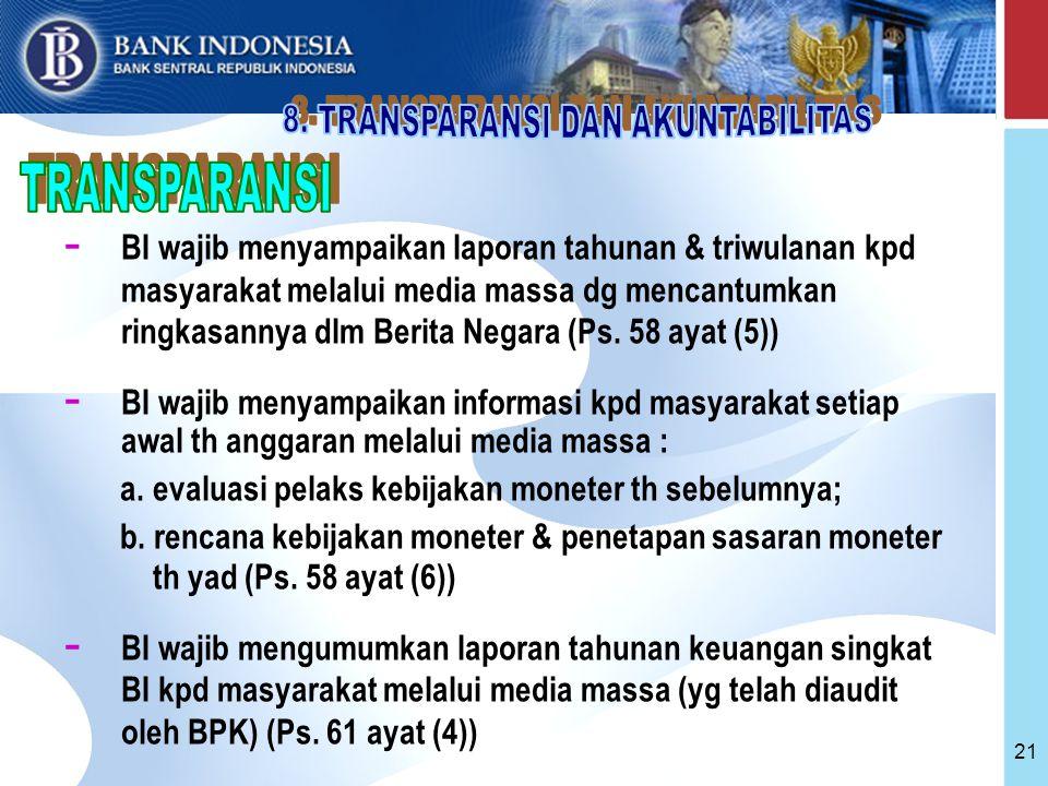 21 - BI wajib menyampaikan laporan tahunan & triwulanan kpd masyarakat melalui media massa dg mencantumkan ringkasannya dlm Berita Negara (Ps.