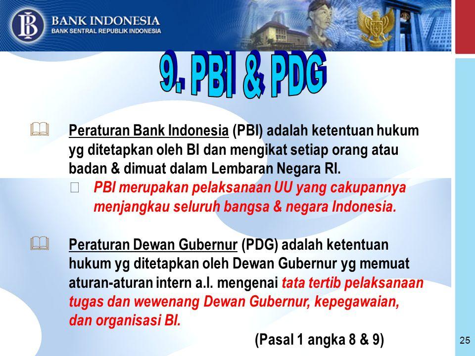 25  Peraturan Bank Indonesia (PBI) adalah ketentuan hukum yg ditetapkan oleh BI dan mengikat setiap orang atau badan & dimuat dalam Lembaran Negara RI.