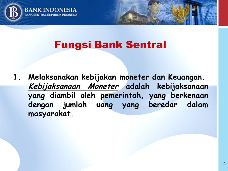 4 Fungsi Bank Sentral 1.Melaksanakan kebijakan moneter dan Keuangan.