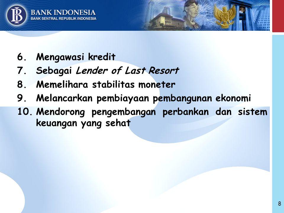 6.Mengawasi kredit 7.Sebagai Lender of Last Resort 8.Memelihara stabilitas moneter 9.Melancarkan pembiayaan pembangunan ekonomi 10.Mendorong pengembangan perbankan dan sistem keuangan yang sehat 8